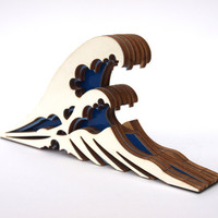 The great wave off Kanagawa wooden doorstop by CliveRoddy on Etsy