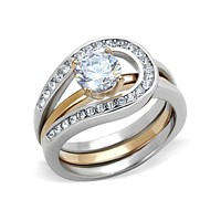 Adele  - Two Tones Rose Gold Interlocking CZ Stone Wedding Ring Set