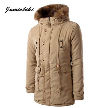 Jamickiki Brand 2016 Mens Winter Thicken  Jaqueta Masculina Long Length Slim Cotton Down Jackets Homme Padded Parka Men