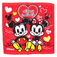Mickey Minnie Mouse Cartoon Print Square Face Towel Handkerchief in Red
