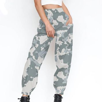 White Camouflage Pockets High Waisted Hippie Casual Long Pant