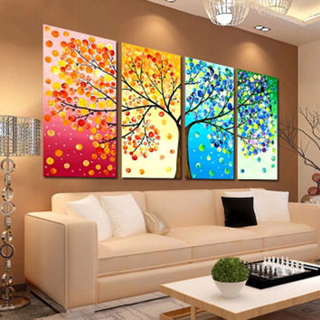 2016 Fashion Colorful Tree Embroidery DIY Counted Cross Stitch Kit Handmade Needlework Home Room Decoration Cloth Size 103*57cm