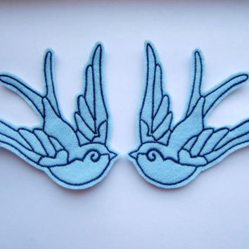 Iron On Patches Pair of Blue Swallow Felt Animal Appliques