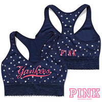 New York Yankees Victoria's Secret PINK® Lace Yoga Bra - MLB.com Shop