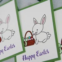 Easter Bunny and Basket Full of Eggs Hand Made Gift Tags Set of Three