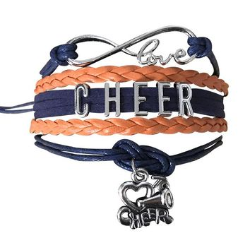 Cheer Infinity Bracelet - Navy & Orange