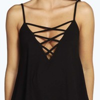 Lauren Lattice Detail V Neck Cami