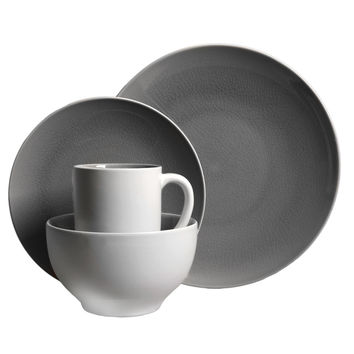 Gibson Serenity Gray 16-piece Dinnerware Set (Service for 4) | Overstock.com Shopping - The Best Deals on Casual Dinnerware