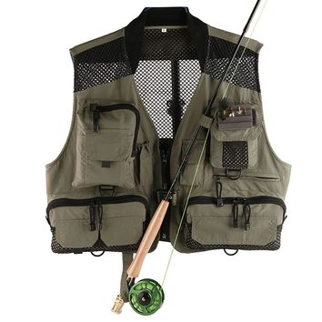 High Quality Men's Breathable Mesh Fly Fishing Vest Quick Dry Super Light Fishing Jackets Outdoor Hiking Outerwear Waistcoat