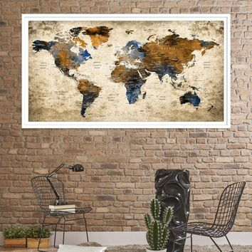 31321 - World Map Wall Art, World Map Canvas, World Map Print, World Map Poster, World Map Art, World Map Push Pin, Large Wall Art World Map Canvas