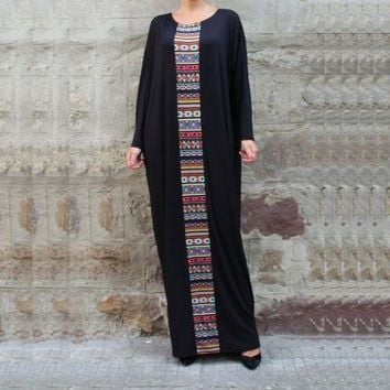 LMFON Black Kaftan Maxi Dress Plus Size Caftan Abaya Aztec Print Dubai India African Moroccan Dress