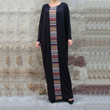 VONE05P Black Kaftan Maxi Dress Plus Size Caftan Abaya Aztec Print Dubai India African Moroccan Dress