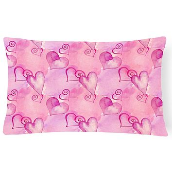 Watercolor Hot Pink Hearts Canvas Fabric Decorative Pillow BB7564PW1216