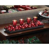 Festive Red Candle Holder With Glittering Ornaments