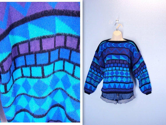 Vintage Sweater / 1980s Slouchy Soft Abstract Sweater