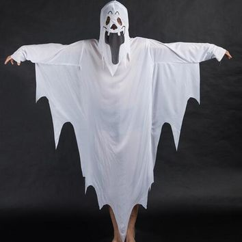 White Ghost Tattered Gown Mask Girl Boy Children Halloween Fancy Dress Costume
