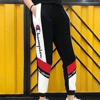 Champion Women Men Popular Leisure Contrast Color Logo Print Sport Stretch Women Men Pants Trousers Sweatpants