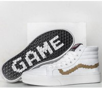 Vans With Fur Warm Casual Shoes high top Mosaic white