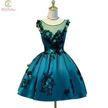 New short sexy cocktail dress dark green satin with appliques flower ball gown banquet party dress
