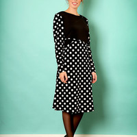 Black A line dress – Long sleeve dress - Modest  dress with polka dots print
