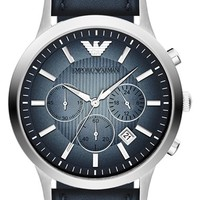 Men's Emporio Armani Chronograph Leather Strap Watch, 43mm