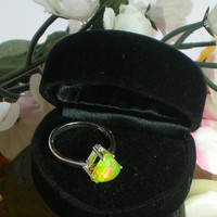 Green & Yellow Ethiopian Fire Opal Ring, 1.65 Carats 8.5 x 8.5 x 5 mm Extreme Fire  Natural AAA+++ Fire Opal, Size 7 Sterling Silver Ring