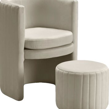 Selena Cream Velvet Accent Chair and Ottoman Set
