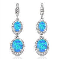 Sterling Silver Cubic Zirconia and Blue Opal Dangling Earrings