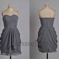 Custom Grey Short Bridesmaid Dresses 2014 Simple Bridesmaid Dresses Wedding Party Dress Short Prom Dresses Evening Gowns Cheap Party Dress