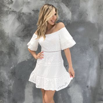 Reunited Love Eyelet Off Shoulder Dress in White