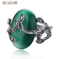 Vintage Green Opal Ring Oval Natural  Stone Rings For Women Retro Anillo Carved Luxury Crystal Rhinestone Bague Leaf Ring