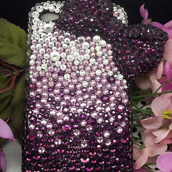 BOW iphone 4 case iPhone 5 case iphone 4s cover bow iphone case rhinestone iphone 5 case purple crystal bling swarovski iphone 4 cases
