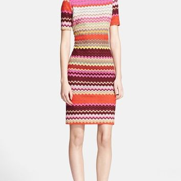 Women's Missoni Short Sleeve Patchwork Zigzag Knit Dress