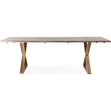Leah Industrial Dining Table Rustic Ash and Brushed Gold Steel