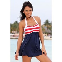 UjENA Sailor Girl Swim Dress Bathing Suit Swimsuit 2 Piece Beach Wear Swimwear Z297