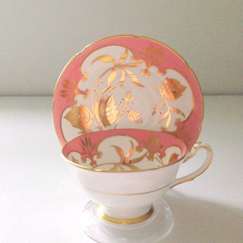 Antique Royal Grafton Fine Bone China Tea Cup and Saucer Studio Leaf Pattern Tea Party