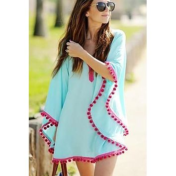 Tunic Cotton V-Neck Swimsuit Beachwear Bathing Suit Cover Ups