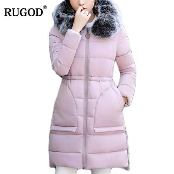 RUGOD Warm Fur Fashion Hooded Quilted Coat Winter Jacket Woman 2017 Solid Zipper Down Jacket Cotton Parka Plus Size Slim Jacket