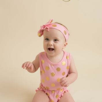 Peach/Gold Pom Pom Romper SET
