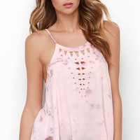 Amuse Society Landslide Blush Pink Tie-Dye Top