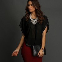Promo-black Short Sleeve Embellished Blouse