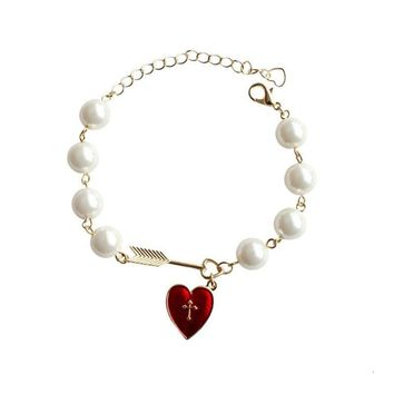 Gold Color Chain Cross Red Heart Cupid Arrow, White Pearl Charm Bracelet