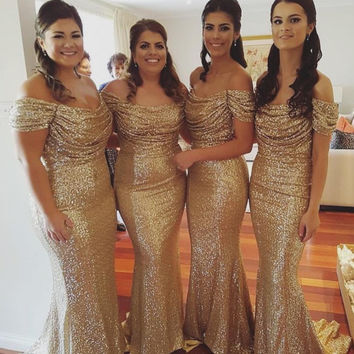 Gold Long Bridesmaid Dress Sexy Off Shoulder Junior Plus Size Wedding Party Gowns