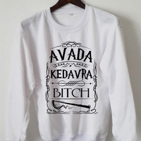 Harry Potter Sweatshirt Avanda Kedavra Bitch Logo Black White Gray Maroon Unisex Sweaters Tee S,M,L,XL #6