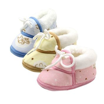 Winter Baby Boys Girls Cotton Shoes Plush Warm Shoes bebe Boots For 6-12 Months