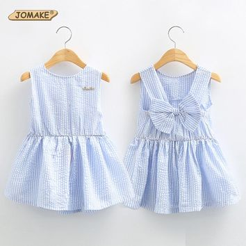 Classic Plaid Baby Girls Dresses Summer 2016 Sleeveless Girl Dress with Bowknot Casual Girls Clothes Brand Toddler Girl Clothing