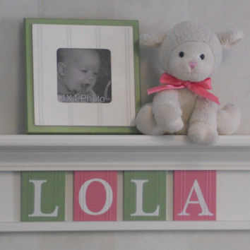 "Baby Shower Decorations - Baby Girl Nursery Decor - LOLA - 24"" Linen White Shelf with 4 Wooden Letters Pink and Green"