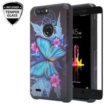 ZTE Sequoia Case, Blade Z Max, ZTE Z982 Case, [Include Temper Glass Screen Protector] Slim Hybrid Dual Layer [Shock Resistant] Case for Sequoia - Blue Butterfly