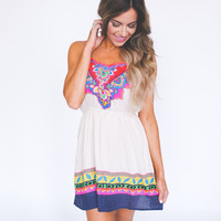 PRINTED HEM DRESS- TAUPE