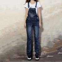 2016 Casual Street Women Jumpsuit Denim Overalls Jeans Spaghetti Strap Overall Slim Full Pants With Pockets Plus Size XXL 825
